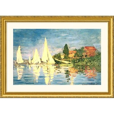 Great American Picture Boating at Argenteuil Gold Framed Print - Claude Monet