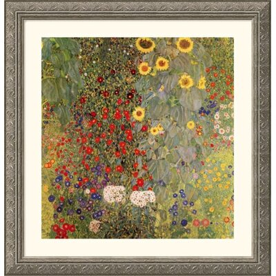 Great American Picture Garden with Sunflowers Silver Framed Print - Gustav Klimt
