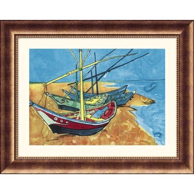 Great American Picture Boats Bronze Framed Print - Vincent van Gogh