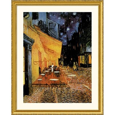 Cafe Terrace At Night Gold Framed Print - Vincent van Gogh
