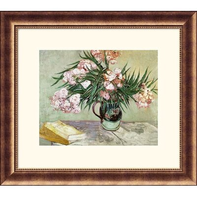 Great American Picture Still Life: Vase with Oleanders and Books Bronze Framed Print - Vincent van Gogh