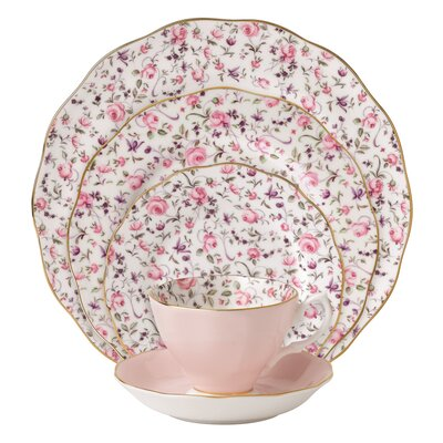 Rose Confetti Vintage Formal 5 Piece Place Setting