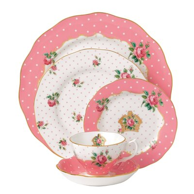 New Country Roses Cheeky Pink Vintage 5 Piece Place Setting