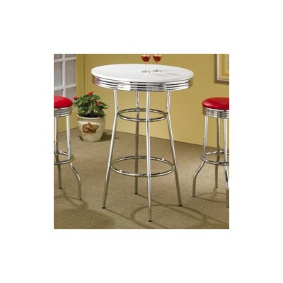 "Wildon Home ® Red Cliff 29"" Bar Stool with Red Cushion in Chrome"