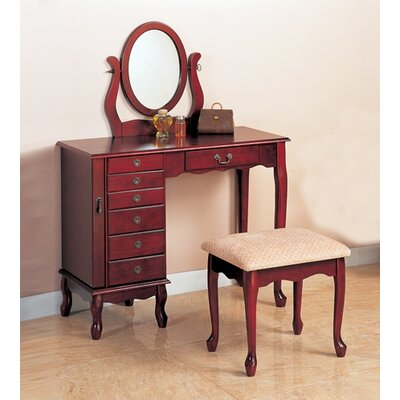 "Wildon Home ® Winlock 36"" Vanity Set with Stool in Cherry"