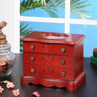Wildon Home ® Valentine Heart Jewelry Box in Cherry