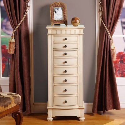Wildon Home ® Murphy Eight Drawer Changing Jewelry Armoire in Cream