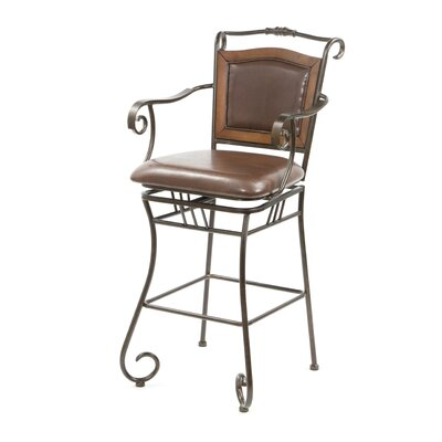 "Wildon Home ® Bingham Springs 29"" Bar Chair with Arms and Cushion Seat in Black"