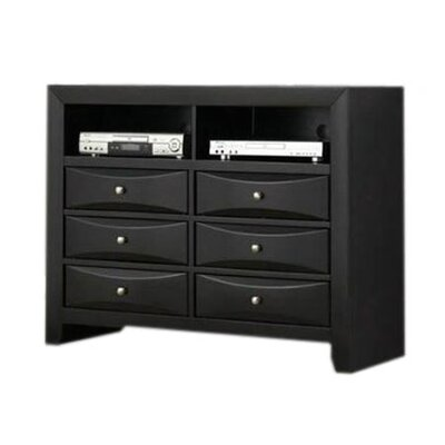 Wildon Home ® Bevelled Media 6 Drawer Dresser