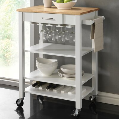 Wildon Home ® Kitchen Cart with Butcher Block Top