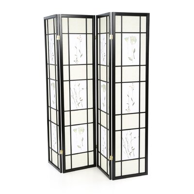 Wildon Home ® Pateros Four Panel Floral Printed Folding Screen in Black with Beige and White Panels