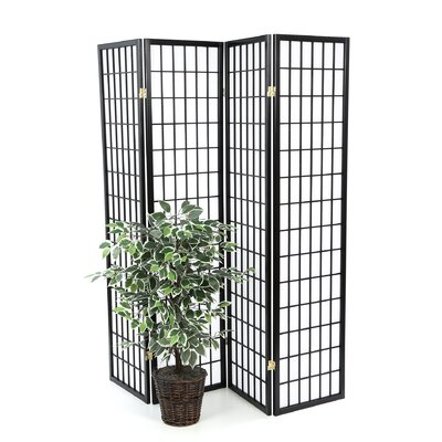 Wildon Home ® Quincy Four Panel Japanese Style Folding Screen in Black