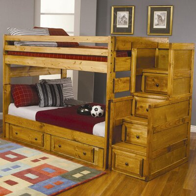 Wildon Home ® San Bernardino Full over Full Bunk Bed Set with Stairs and Storage