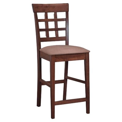 "Wildon Home ® Hartsel 24"" Wheat Back Bar Stool in Walnut"