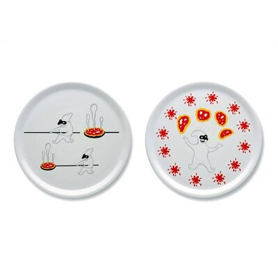 Alessi AMGI08 S2 Set 2 of Two Pizza Plates by Massimo Giacon