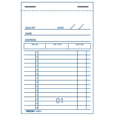 "Rediform-Blueline 3-3/8"" x 5"" Carbon Copy Sales Book"