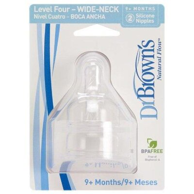 Dr. Brown's Wide Neck Baby Bottle Nipple 2 Pack