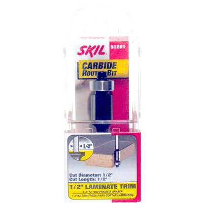 "Skil 1/2"" Laminate Trim Carbide Router Bit 91201"