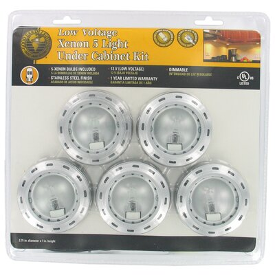 5 Count Xenon Stainless Steel Puck Lights G9165-SSX-I