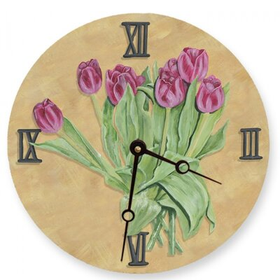 Lexington Studios Pink Tulips Round Clock