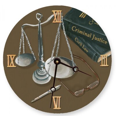 Scales of Justice Round Clock