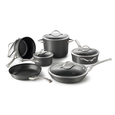 Contemporary Hard-Anodized Aluminum 11-Piece Cookware Set