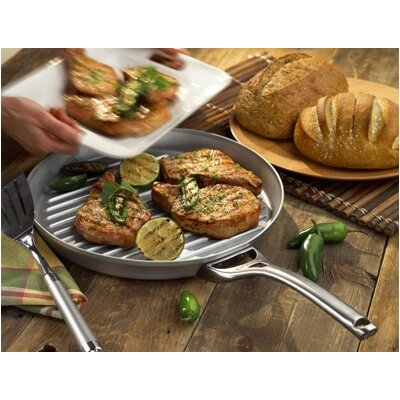 "Calphalon Contemporary Stainless Steel 13"" Grill Pan"