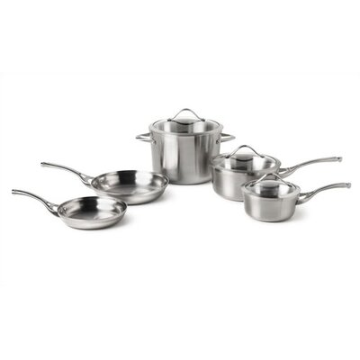 Contemporary 3-Ply Stainless Steel 8-Piece Cookware Set