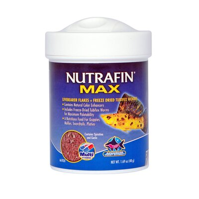 Nutrafin Max Livebearer and Tubifex Fish Food - 1.69 oz.