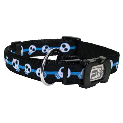 Dogit Style Electric Skulls Adjustable Nylon Dog Collar