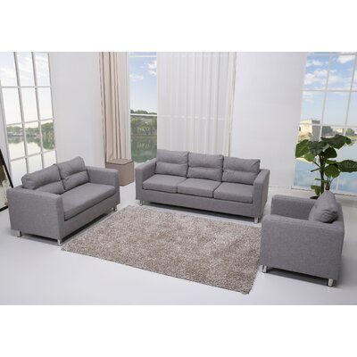Gold Sparrow Detroit 3 Piece Sofa, Loveseat and Arm Chair Set