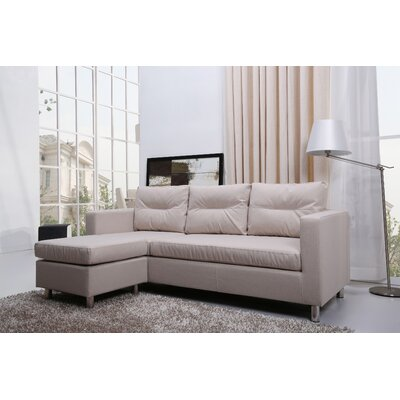 Gold Sparrow Detroit Convertible Sectional Sofa and Ottoman