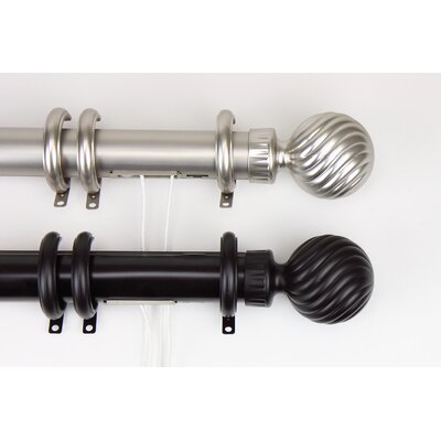 Rod Desyne Elite Traverse Spiral Ball Center Open Curtain Rod and Hardware Set