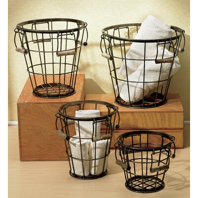 Kindwer 4 Piece Round Iron Basket Set with Wood Handles