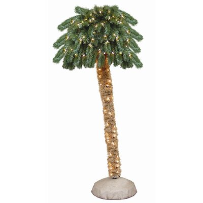 General Foam Plastics 6' Green Tropical Artificial Christmas Tree with 150 Pre-Lit Clear Lights