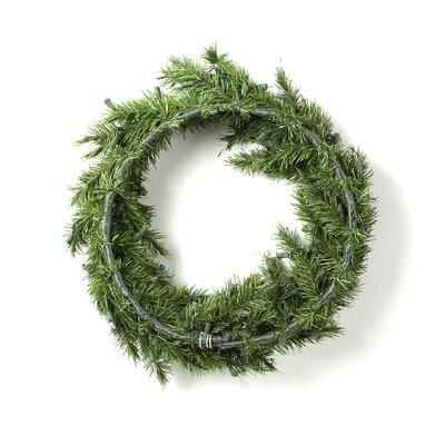 General Foam Plastics Prelit Evergreen Fir Wreath with 100 Clear Indoor/Outdoor Lights
