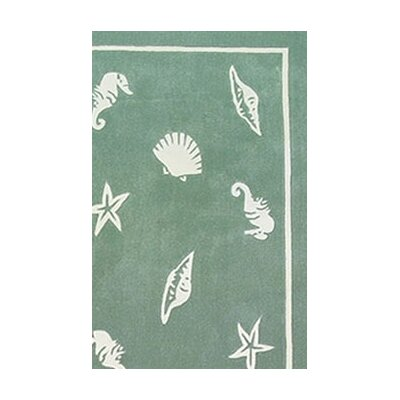 American Home Rug Co. Beach Rug Seafoam Shells and Seahorses Novelty Rug