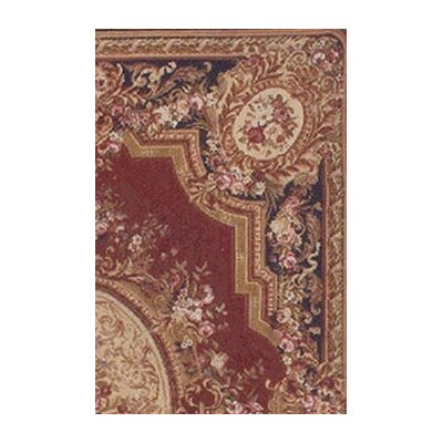 American Home Rug Co. Grandeur Burgundy/Emerald Needlepoint Aubusson Rug/Tapestry