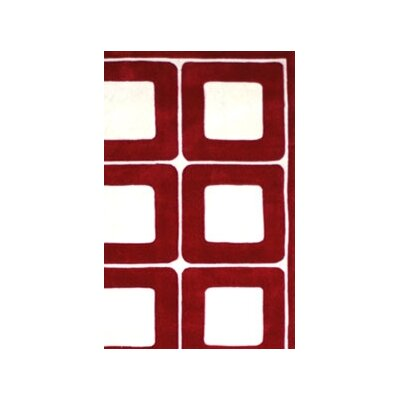 American Home Rug Co. Modern Living Deco Blocks Red/White Rug