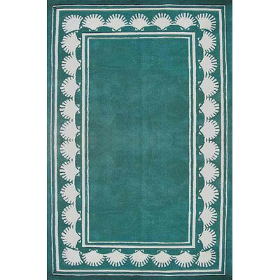 American Home Rug Co. Beach Rug Teal Shell Border Novelty Rug