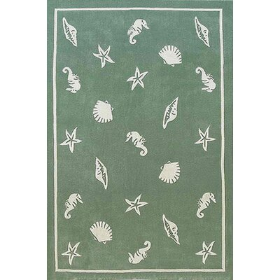 Beach Rug Seafoam Shells and Seahorses Novelty Rug