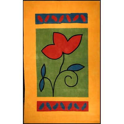 Bright Rug Yellow/Green A Single Flower Novelty Rug