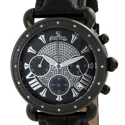 JBW Women's Victory Leather Watch in Black with Black Dial