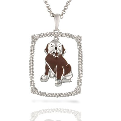 "Élan Jewelry Sterling Silver and Brilliant Diamond ""Loveable Mutt"" Brown Enamel Doggy Pendant"