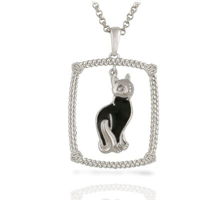 "Élan Jewelry Sterling Silver and Brilliant Diamond ""Black Cat"" Enamel Kitty Pendant"