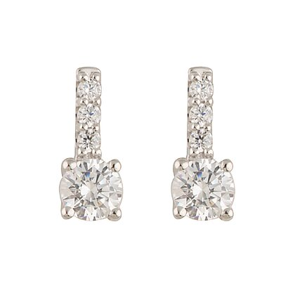 Élan Jewelry Silver-Tone Cubic Zirconia Stud Earrings