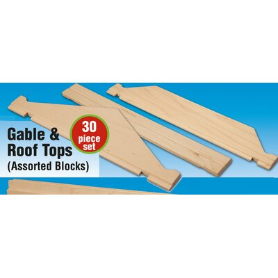 Stack and Stick Gable and Roof Tops Building Set (30 Pieces)
