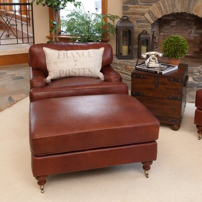 Cambridge Top Grain Leather Chair and Ottoman