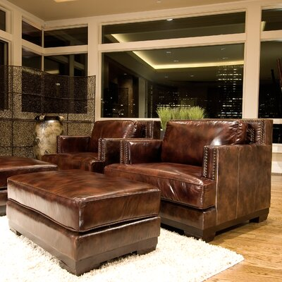 Elements Fine Home Furnishings Emerson Top Grain Leather Chair and Ottoman
