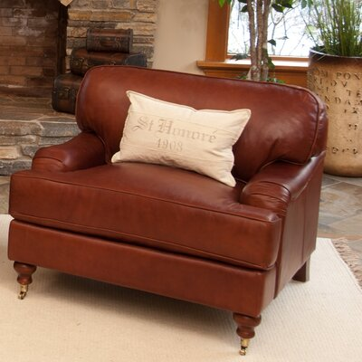 Elements Fine Home Furnishings Cambridge Top Grain Leather Chair and Ottoman